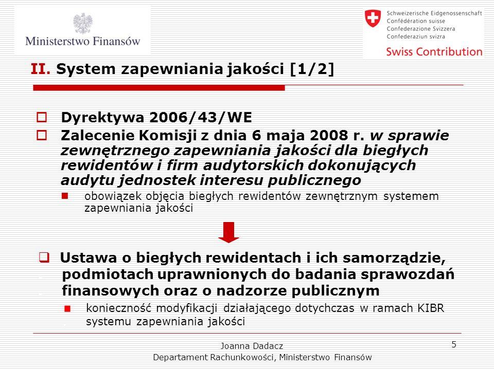 II. System zapewniania jakości [1/2]